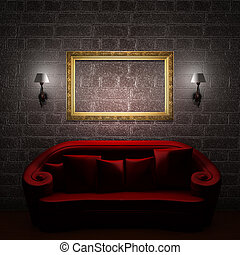 Red couch with empty frame and sconces in minimalist interior