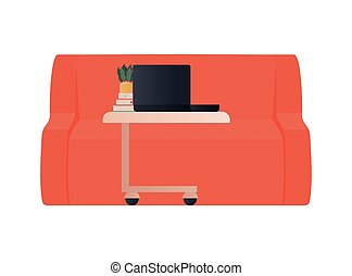 red couch with laptop on table vector design