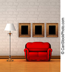 Red couch with standard lamp in minimalist interior