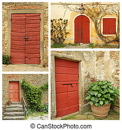 red country doors collage , Italy