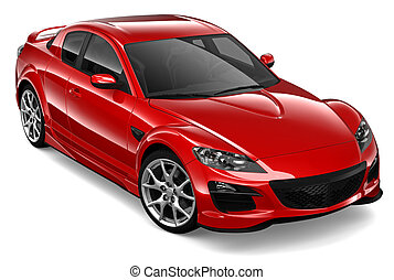 Red coupe car - Red car on a white background