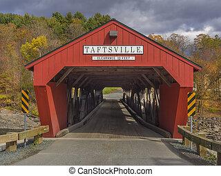 Red covered bridge entrance in Taftsville, Vermont, USA