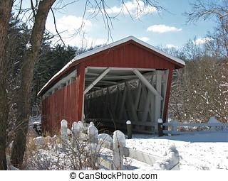 Red Covered Bridge in winter - Red Everett Road Covered...