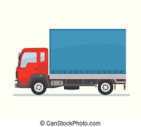 Red covered truck isolated on white background.