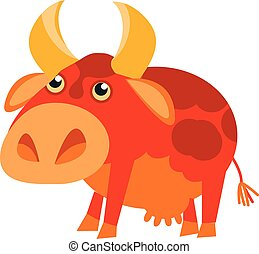 red cow funny cartoon simple vector illustration