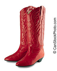 Red cowboy boots,isolated