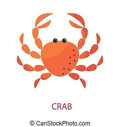 Red crab cartoon vector icon illustration.