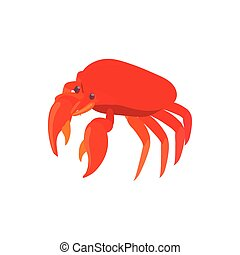 Red crab icon, cartoon style