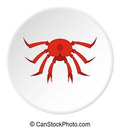 Red crab icon circle
