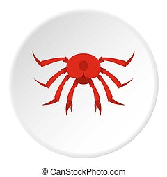 Red crab icon circle