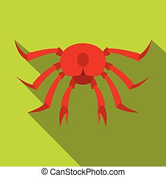 Red crab icon, flat style