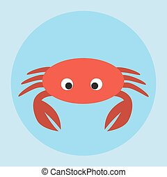 Red crab icon flat style