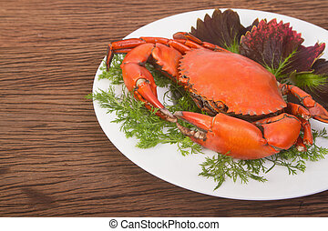 Red crab on a plate
