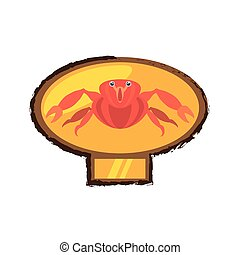 red crab sea life marine golden emblem