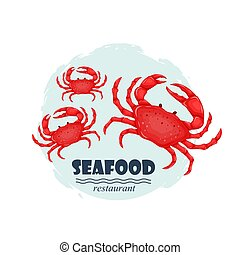 Red crabs seafood restaurant label with splash and text isolated on white background. Sea water animal icon with claws. Design element for emblem, menu, logo, sign, brand mark