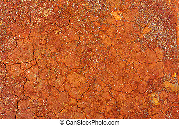 red cracked soil background