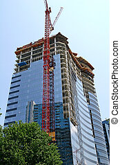 Red Crane and Curved Glass