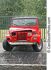 Red crashed SUV