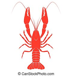 Red crayfish vector flat illustration isolated on white...