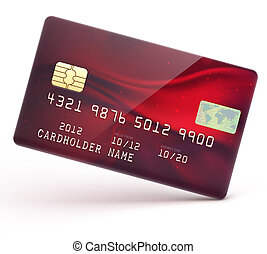 Red credit card - illustration of detailed glossy red credit...