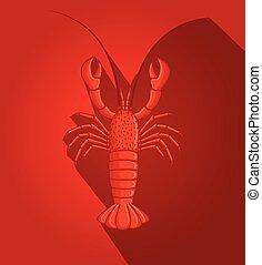 Red Creepy Sea Crayfish Animal Vector Illustration