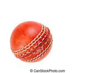 red cricket ball, isolated on white background.