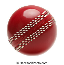 Cricket Ball - Red Cricket Ball Isolated on White...