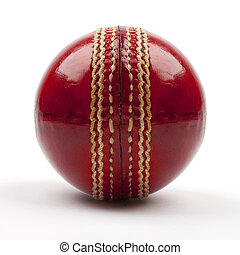 Red Cricket Ball - A Close-up shot of a red Cricket ball on...