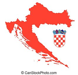 red croatia map with coat of arms