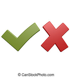 Red cross and green tick
