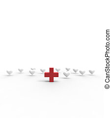 Red Cross and hearts icon on white background. 3D rendering