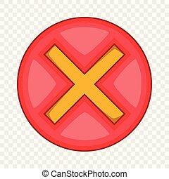 Red cross, check mark icon, cartoon style