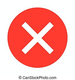Red cross, check mark icon, simple style