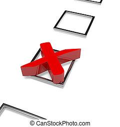 Check Mark - Red Cross Check Mark on White Background 3D ...
