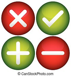 Red cross, check mark, plus and minus signs, icons
