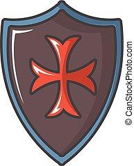 Red cross classic shield icon, cartoon style