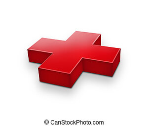 red cross isolated on a white background (first aid sign)