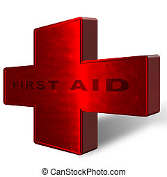 Red Cross with first aid text. Complete with clipping path.