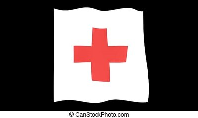 Red Cross flag. Waving