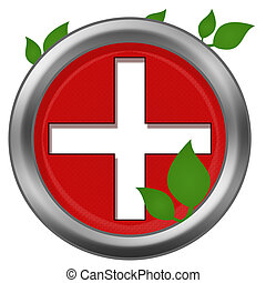 Red Cross Green Leaves - Medical Pus sign in red background...