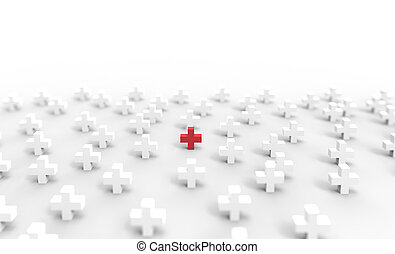Red Cross icon on white background. 3D rendering.