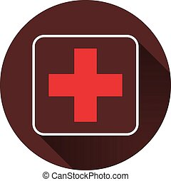 Red cross in a square contour with a shadow on a circle of dark red color, vector