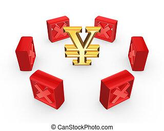 Red cross marks around symbol of yen.