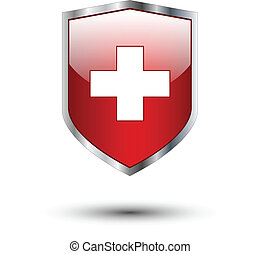Red cross on silver shield - Red cross on protective shield