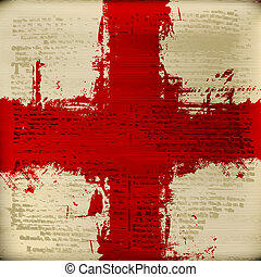 Red Cross over a grunged antique texture background - Blood...