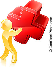 Red cross person illustration of a gold figure holding up a red cross. Possibly a concept for voting or disagreeing or similar