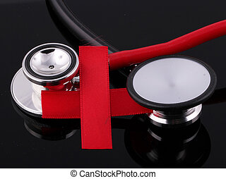 Red Cross with black and red stethoscopes