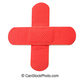red cross - 2 red bandaids in the form of the red cross