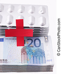 Red Cross with a wad of 20 Euro bills and tablet packaging