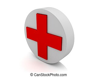 red cross symbol - 3d circular red cross symbol on an...